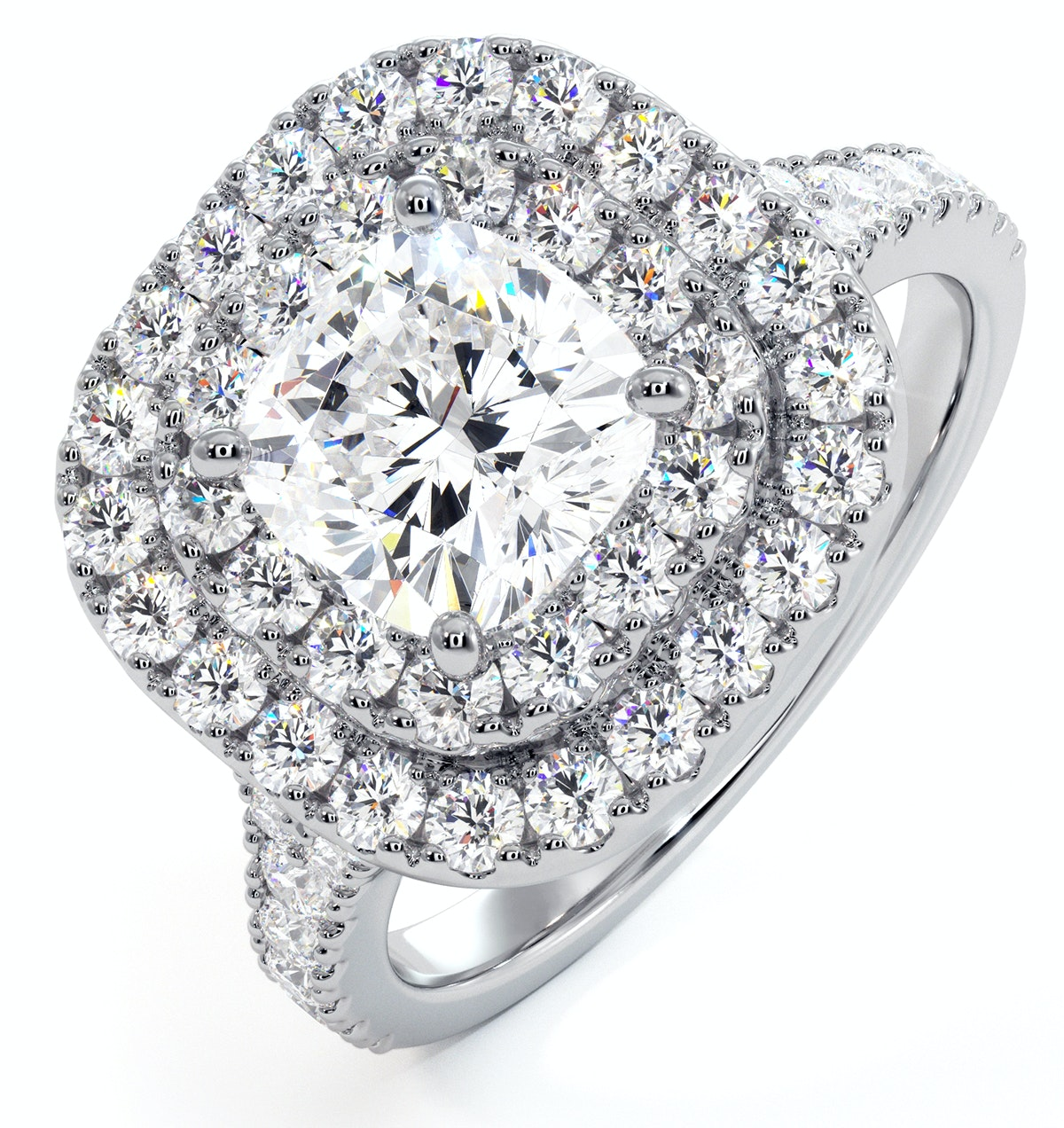 Anastasia GIA Diamond Halo Engagement Ring in Platinum 1.85ct G/VS2