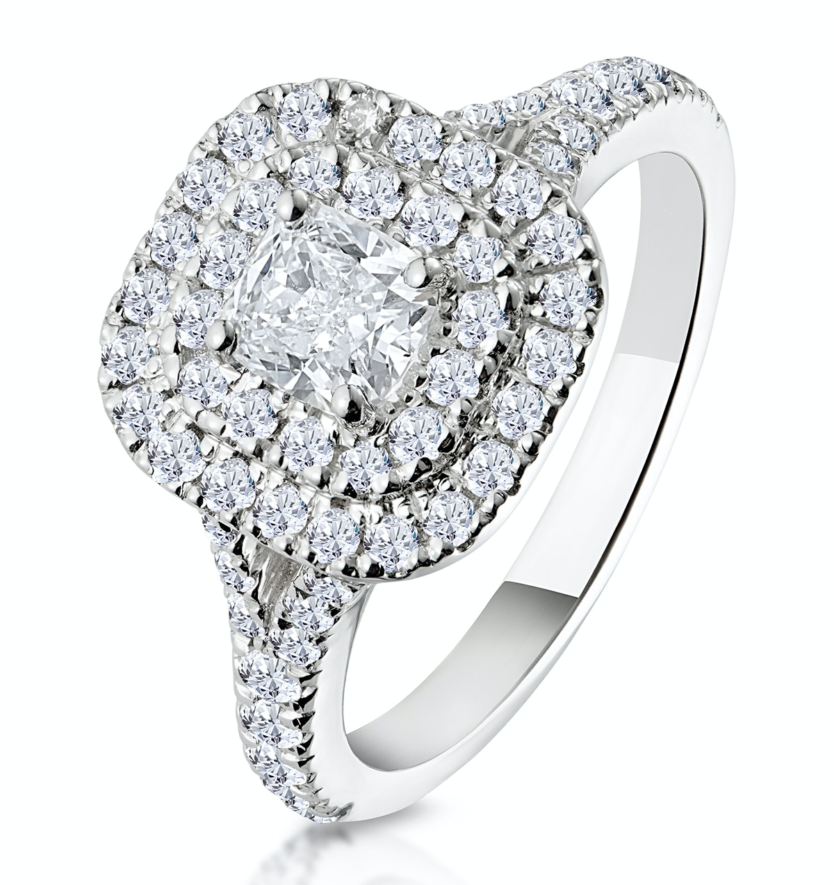 Anastasia GIA Diamond Halo Engagement Ring 18K White Gold 1.30ct G/VS1