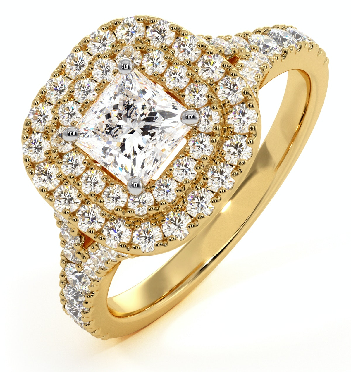 Cleopatra GIA Diamond Halo Engagement Ring in 18K Gold 1.20ct G/SI2