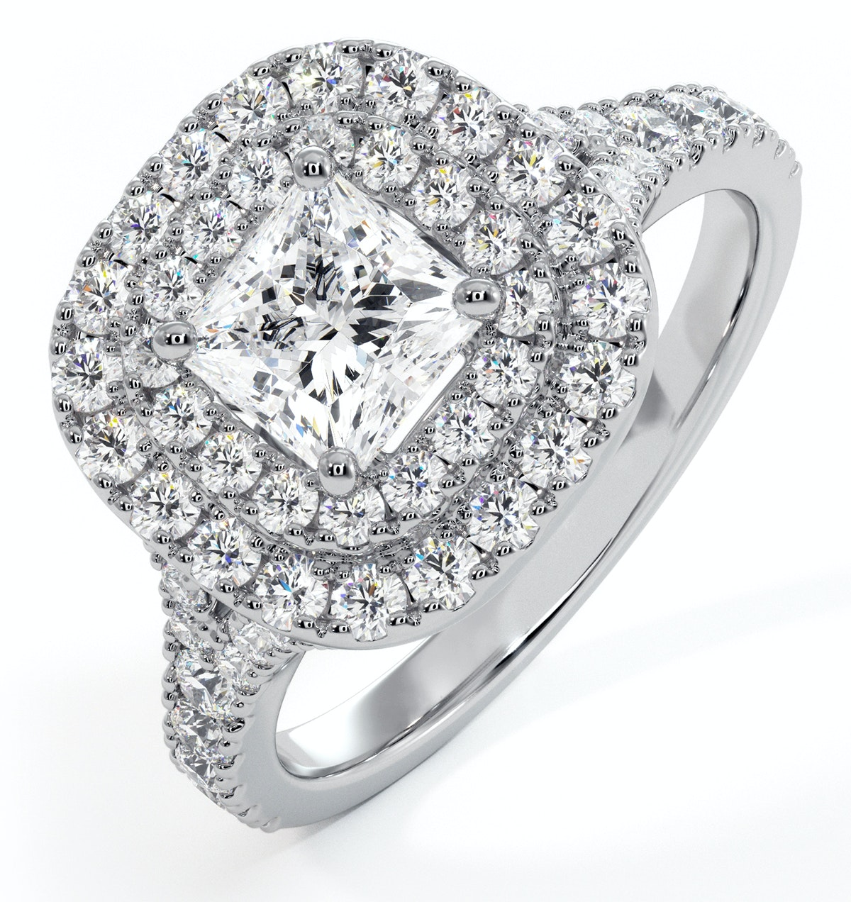 Cleopatra GIA Diamond Halo Engagement Ring in Platinum 1.45ct G/SI2