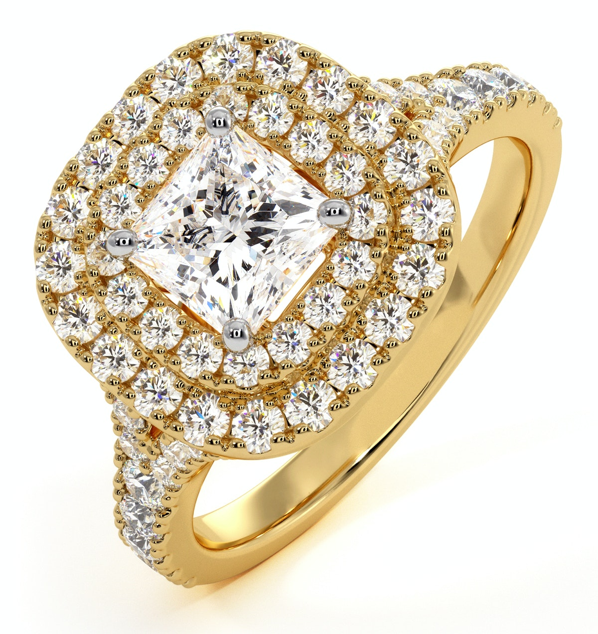 Cleopatra GIA Diamond Halo Engagement Ring in 18K Gold 1.45ct G/SI2
