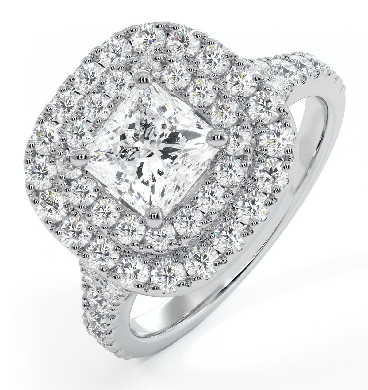 Cleopatra GIA Diamond Halo Engagement Ring in Platinum 1.70ct G/VS1