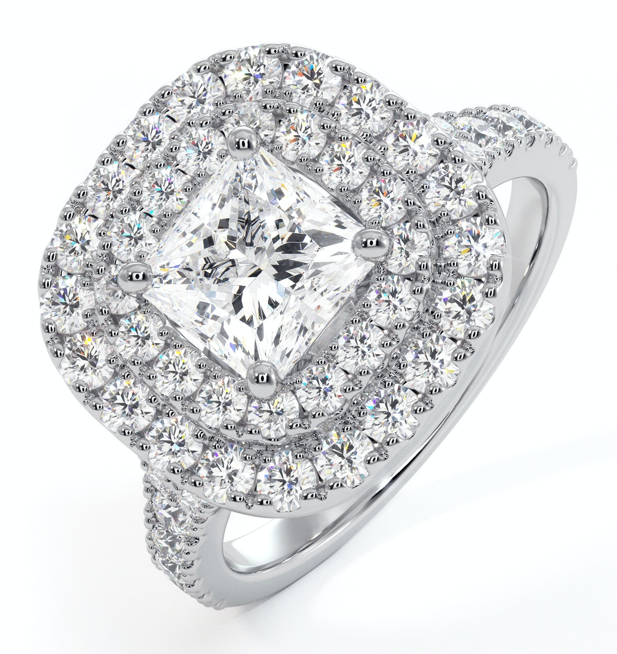 Cleopatra GIA Diamond Halo Engagement Ring in Platinum 1.85ct G/SI2