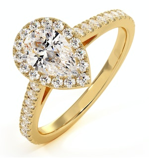 DIANA GIA DIAMOND PEAR HALO ENGAGEMENT RING IN 18K GOLD 1CT G/VS2