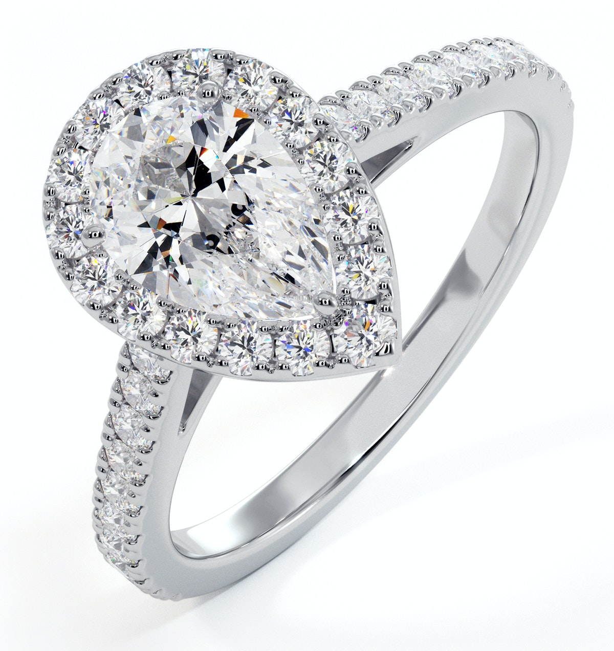 Diana GIA Diamond Pear Halo Engagement Ring Platinum 1.35ct G/SI2
