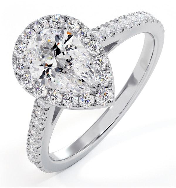 Diana GIA Diamond Pear Halo Engagement Ring Platinum 1.35ct G/SI2 - image 1