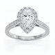 Diana GIA Diamond Pear Halo Engagement Ring Platinum 1.35ct G/SI2 - image 3
