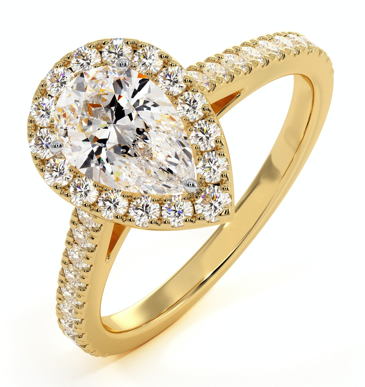 Diana GIA Diamond Pear Halo Engagement Ring in 18K Gold 1.35ct G/SI2