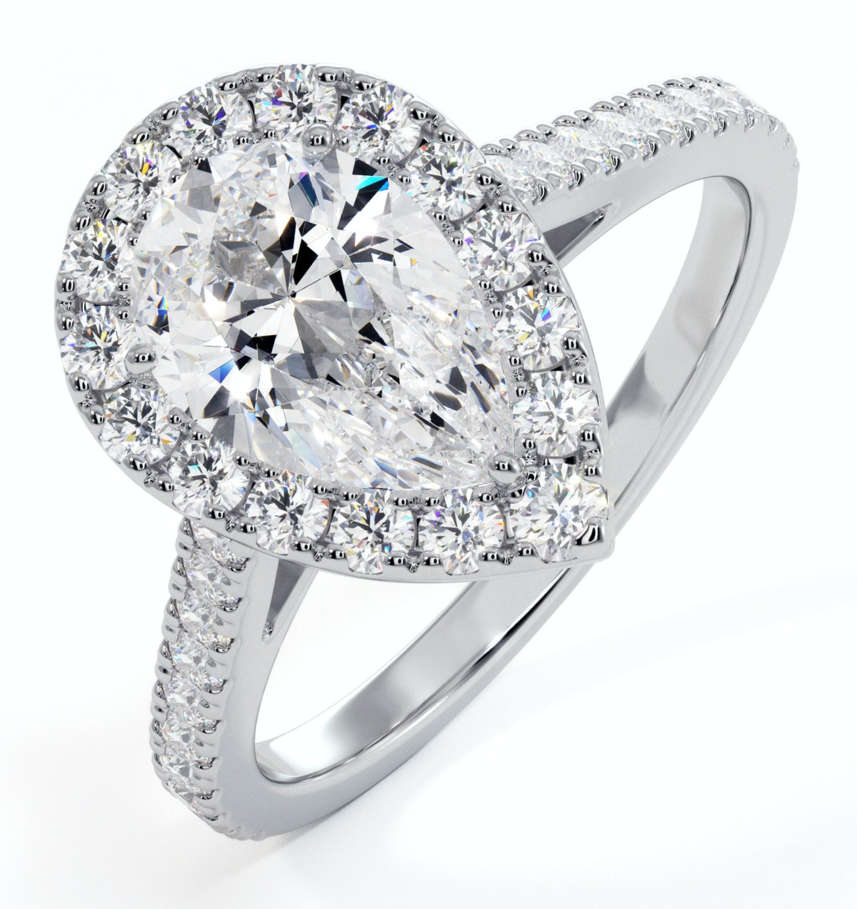 Diana GIA Diamond Pear Halo Engagement Ring 18KW Gold 1.60ct G/SI1