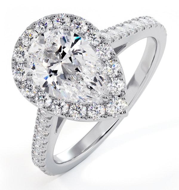 Diana GIA Diamond Pear Halo Engagement Ring Platinum 1.60ct G/SI1 - image 1