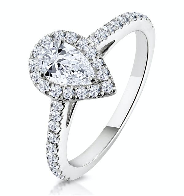 Diana GIA Diamond Pear Halo Engagement Ring Platinum 1ct G/VS1 - image 1