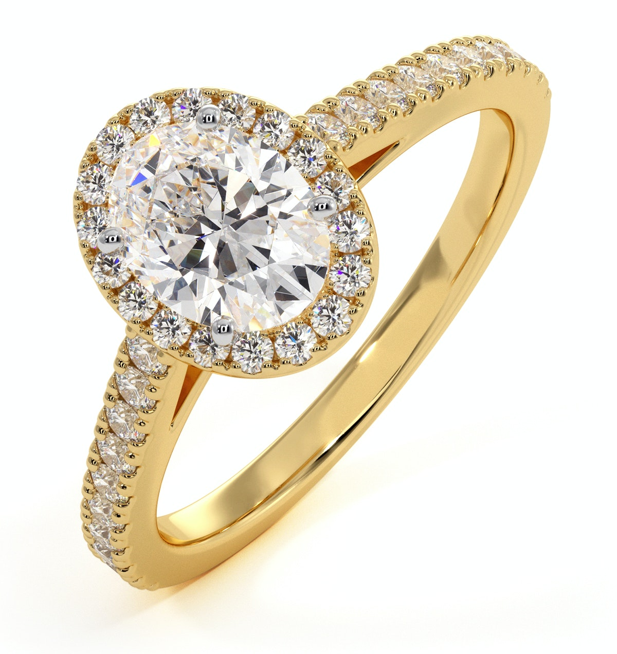 Georgina GIA Oval Diamond Halo Engagement Ring 18K Gold 1.30ct G/SI2