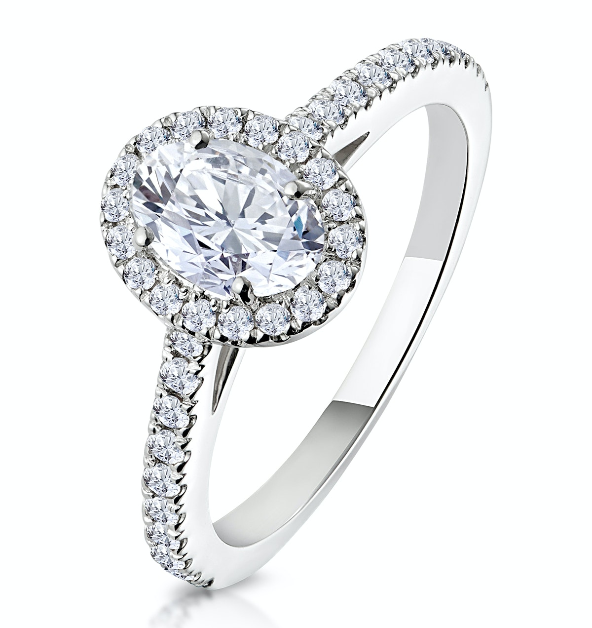 Georgina GIA Oval Diamond Halo Engagement Ring Platinum 1.30ct G/SI2