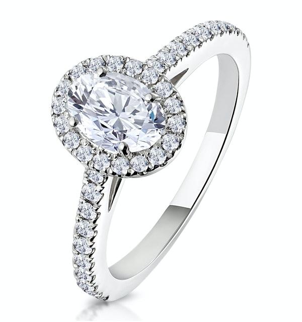 Georgina GIA Oval Diamond Halo Engagement Ring Platinum 1.30ct G/SI1 - image 1