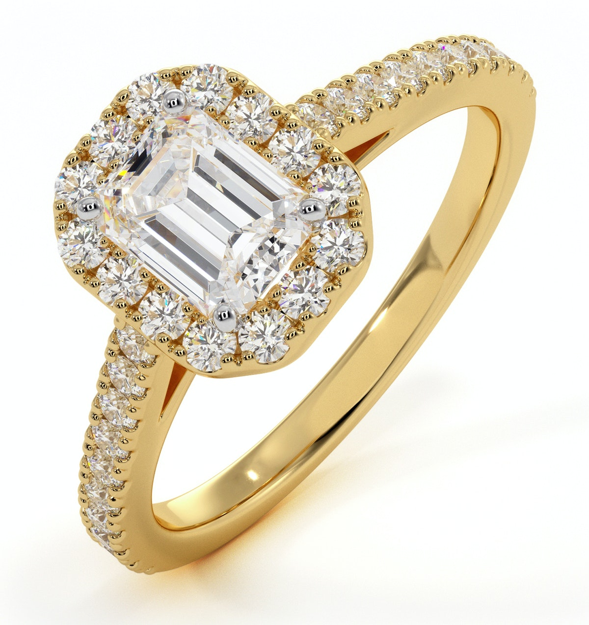 Annabelle GIA Diamond Halo Engagement Ring in 18K Gold 1.35ct G/SI2