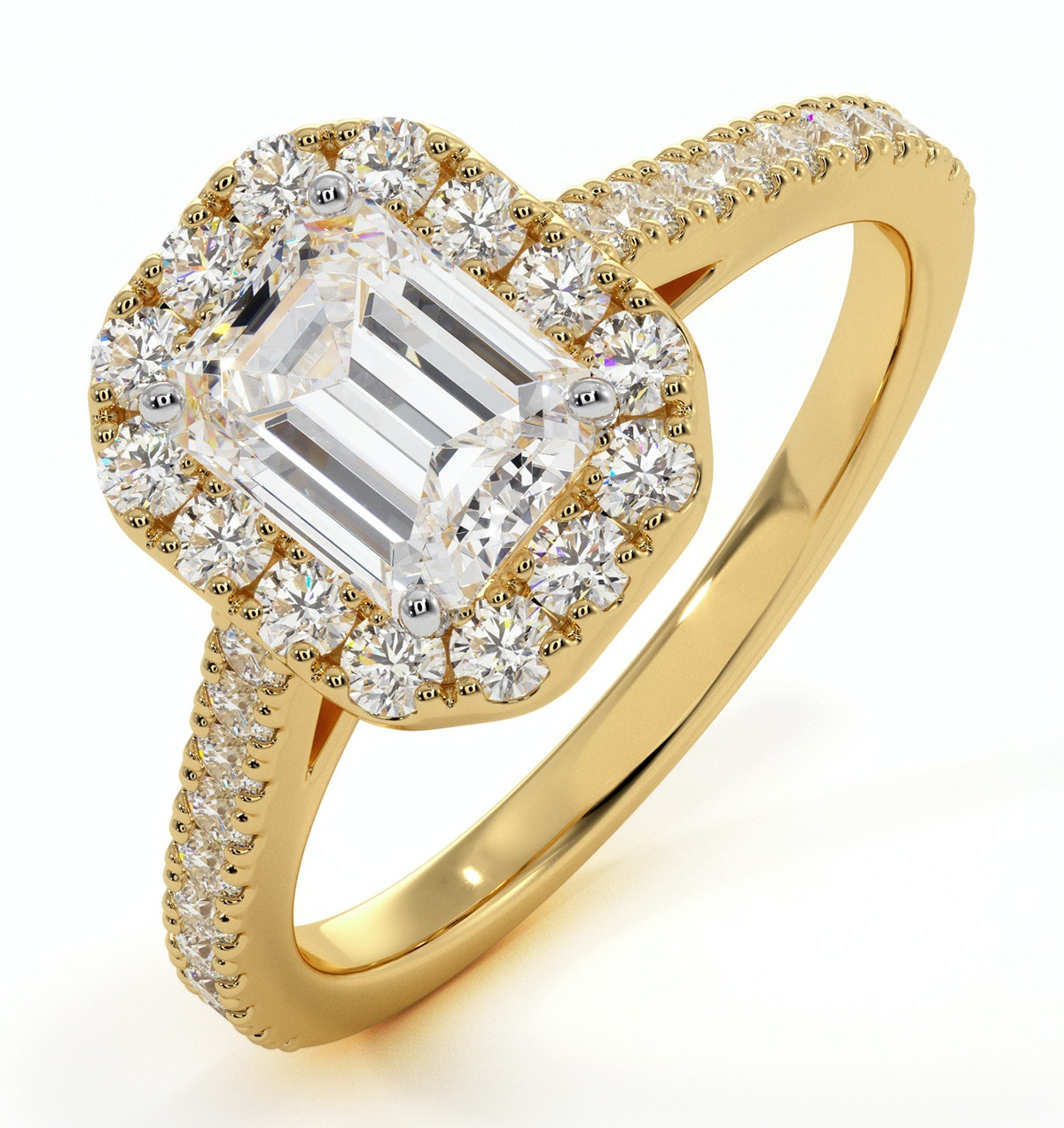 Annabelle GIA Diamond Halo Engagement Ring in 18K Gold 1.65ct G/SI2