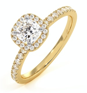 BEATRICE GIA DIAMOND HALO ENGAGEMENT RING IN 18K GOLD 1CT G/SI2