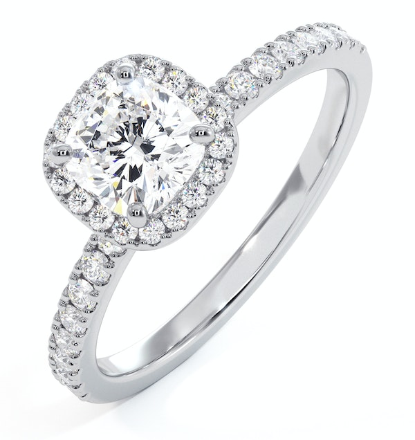 Beatrice GIA Diamond Halo Engagement Ring 18K White Gold 1.25ct G/SI2 - image 1