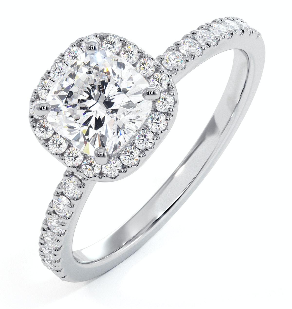 Beatrice GIA Diamond Halo Engagement Ring in Platinum 1.48ct G/SI2