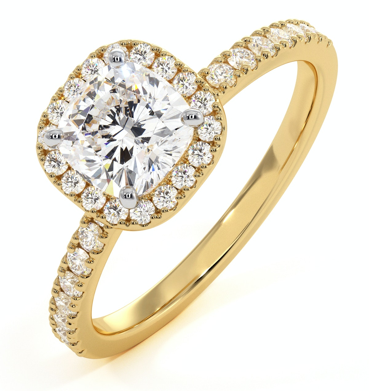 Beatrice GIA Diamond Halo Engagement Ring in 18K Gold 1.48ct G/SI2