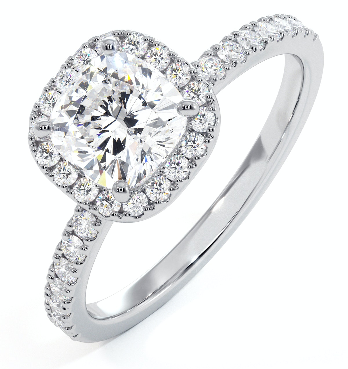 Beatrice GIA Diamond Halo Engagement Ring in Platinum 1.65ct G/VS1