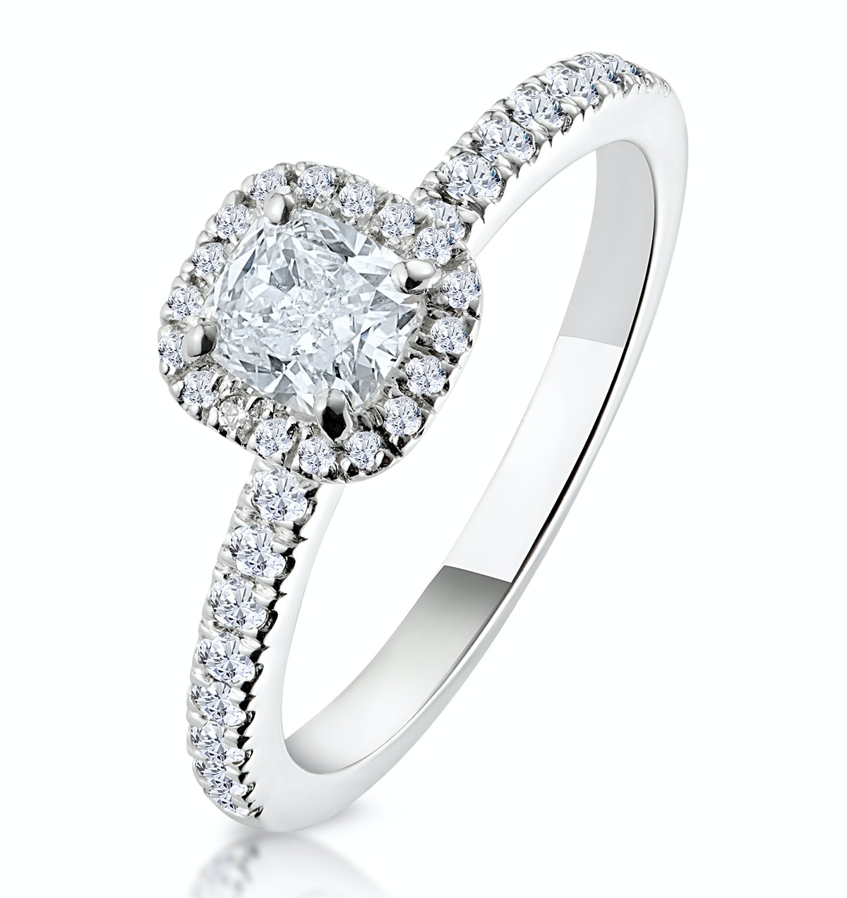 Beatrice GIA Diamond Halo Engagement Ring 18K White Gold 1ct G/SI1