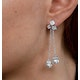 Pearl White Topaz Triple Square Drop Tesoro Earrings in 925 Silver - image 4