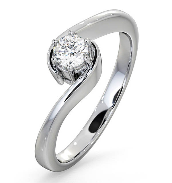 Certified Leah 18K White Gold Diamond Engagement Ring 0.33CT-G-H/SI