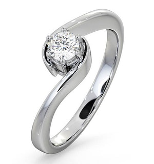 CERTIFIED LEAH 18K WHITE GOLD DIAMOND ENGAGEMENT RING 0.25CT