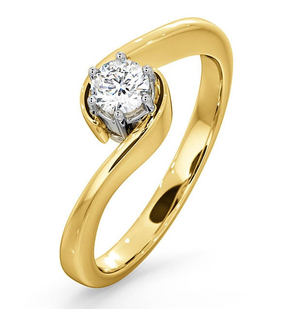 Certified Leah 18K Gold Diamond Engagement Ring 0.33CT-G-H/SI