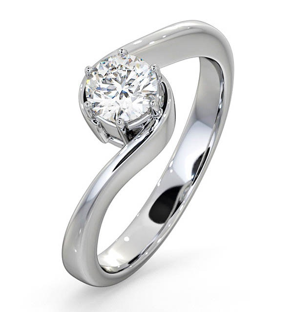 Certified 0.50CT Leah 18K White Gold Engagement Ring G/SI1
