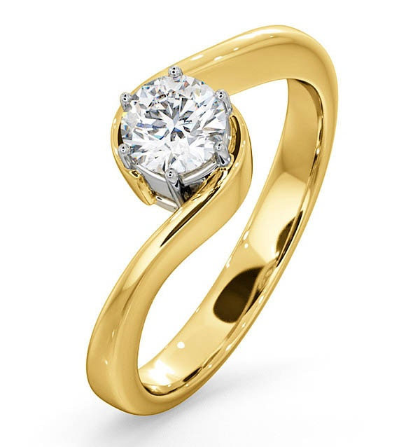 Certified Leah 18K Gold Diamond Engagement Ring 0.50CT