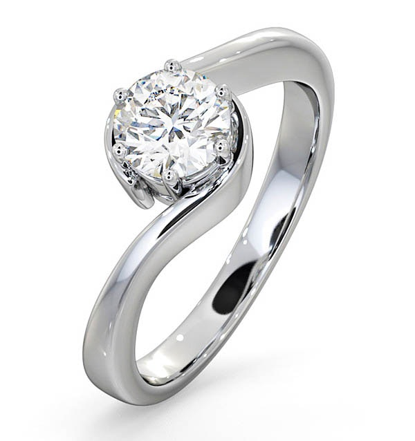 Certified 0.70CT Leah Platinum Engagement Ring G/SI1