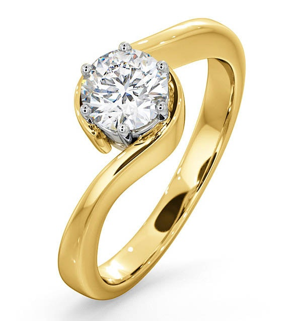 Certified 0.70CT Leah 18K Gold Engagement Ring G/SI2
