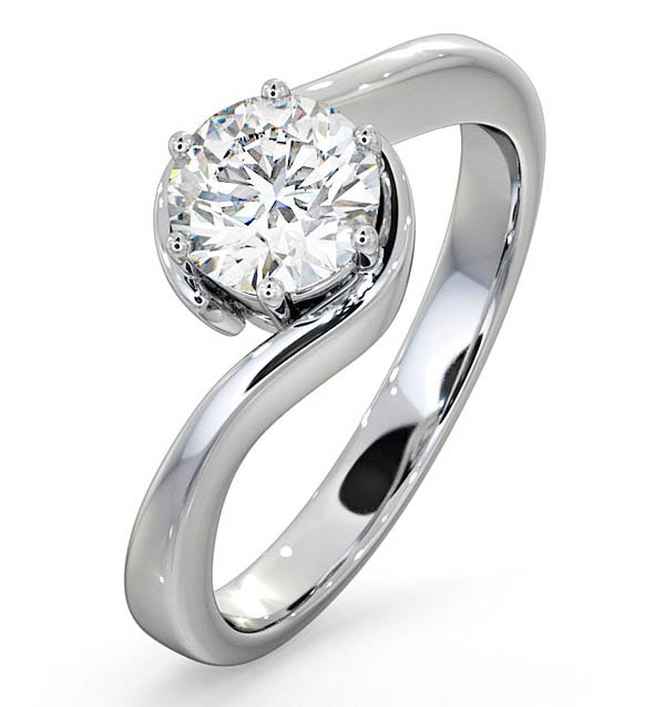 Certified 0.90CT Leah Platinum Engagement Ring E/VS1