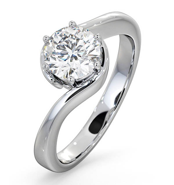 Certified 1.00CT Leah Platinum Engagement Ring G/SI2