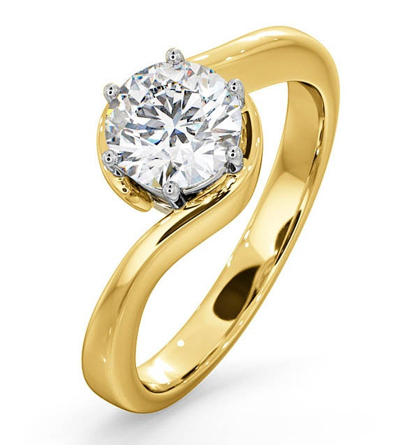 Certified 1.00CT Leah 18K Gold Engagement Ring E/VS1