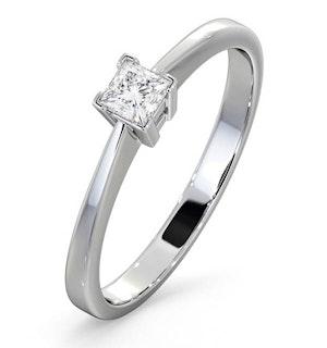 CERTIFIED LAUREN 18K WHITE GOLD DIAMOND ENGAGEMENT RING 0.25CT-G-H/SI