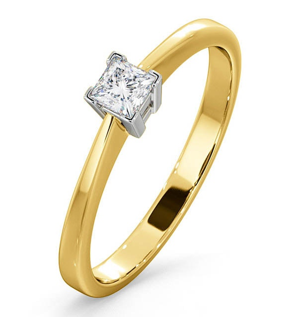 Certified Lauren 18K Gold Diamond Engagement Ring 0.25CT-G-H/SI