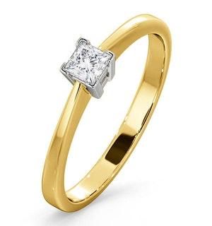 CERTIFIED LAUREN 18K GOLD DIAMOND ENGAGEMENT RING 0.25CT-G-H/SI