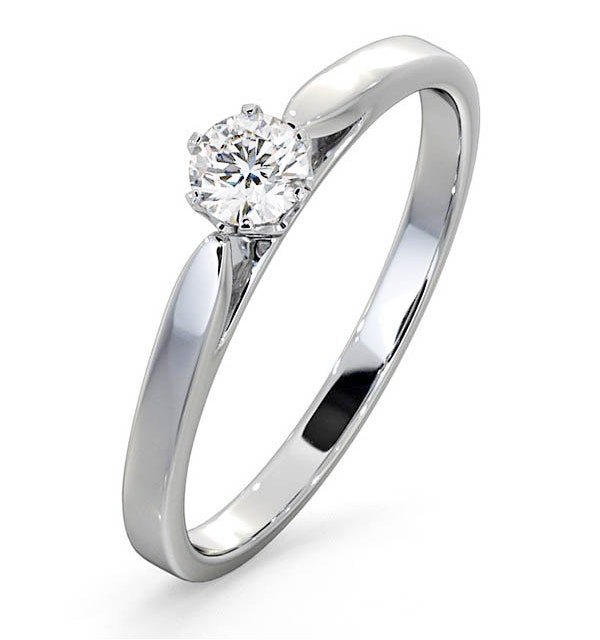 Engagement Ring Certified Low Set Chloe 18K White Gold Diamond 0.25CT - image 1
