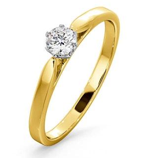 CERTIFIED LOW SET CHLOE 18K GOLD DIAMOND ENGAGEMENT RING 0.25CT