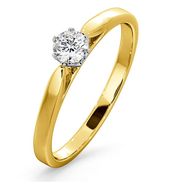 Certified Low Set Chloe 18K Gold Diamond Engagement Ring 0.25CT - image 1