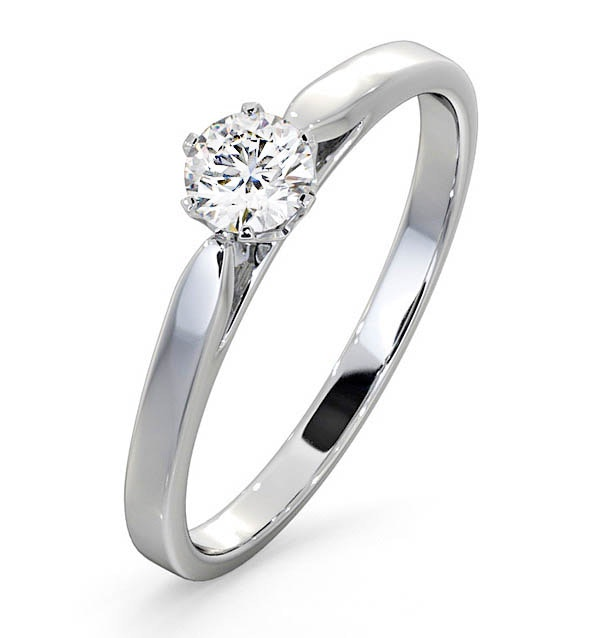 Engagement Ring Certified Diamond 0.33CT G/VS Low Set Chloe 18K Gold - image 1