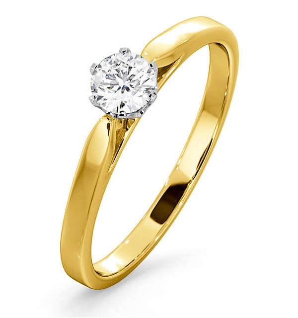 Certified Low Set Chloe 18K Gold Diamond Engagement Ring 0.33CT-F-G/VS - image 1