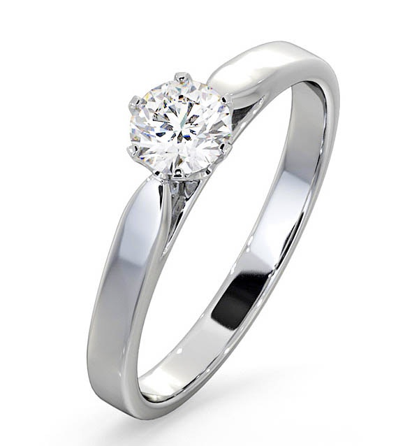 Engagement Ring Certified Low Set Chloe 18K White Gold Diamond 0.50CT