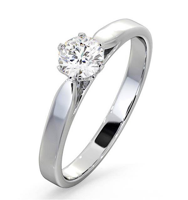 Certified 0.50CT Chloe Low Platinum Engagement Ring G/SI2 - image 1