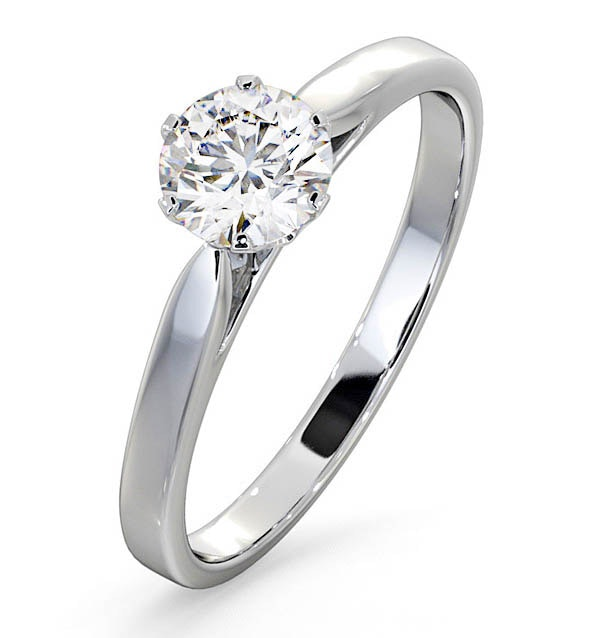 Certified 0.70CT Chloe Low 18K White Gold Engagement Ring G/SI2