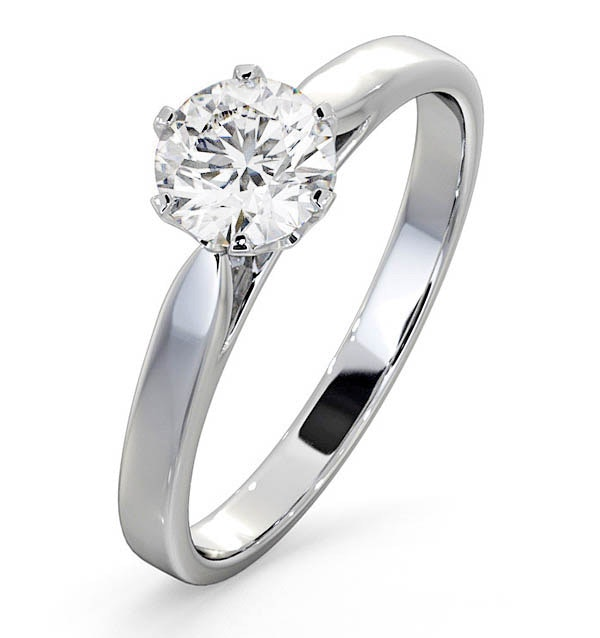 Certified 0.90CT Chloe Low Platinum Engagement Ring E/VS2