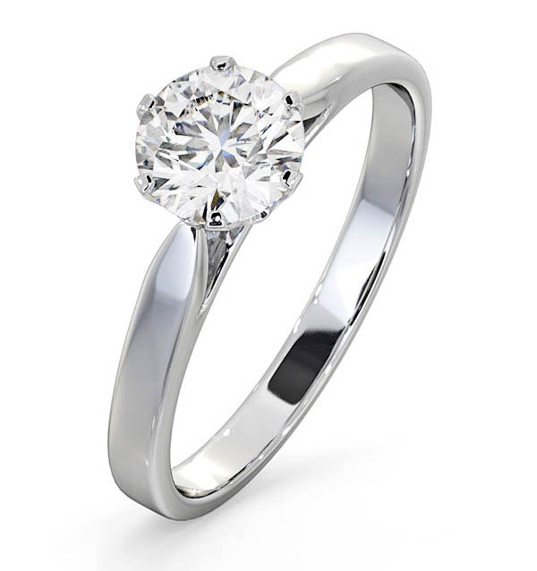 Certified 1.00CT Chloe Low 18K White Gold Engagement Ring E/VS1
